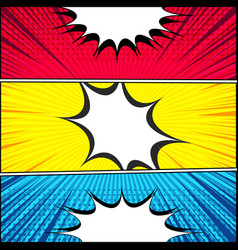 Comic book horizontal banners vector