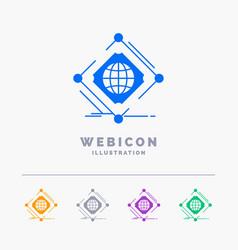 Complex global internet net web 5 color glyph web vector