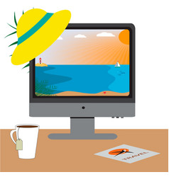 computer screen with beach online travel with vector image