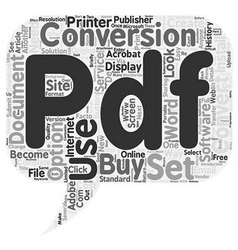 Convert Document To PDF text background wordcloud vector