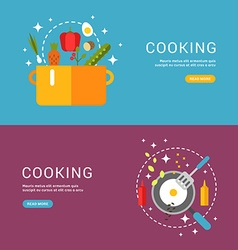 Cooking Concept Fried Eggs in a Frying Pan Soup in vector image