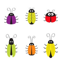 Cute bug cockroach set Funny cartton character vector image