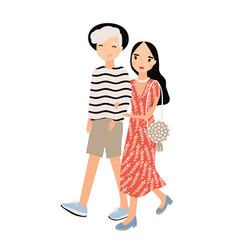 cute romantic couple dressed in trendy clothes vector image