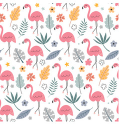 cute seamless pattern with flamingo and vector image