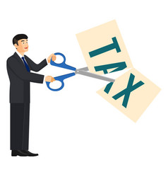 deduction banner man and scissors on vector image