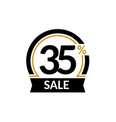 Discount card with 35 percent sale advertising vector