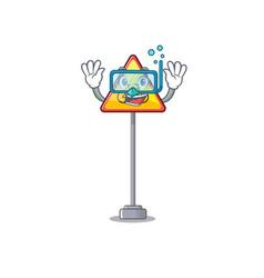 Diving no cycling character shaped a mascot vector