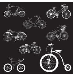Doodle Bicycles - hand drawn vector image