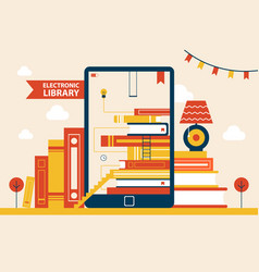 Electronic library poster vector