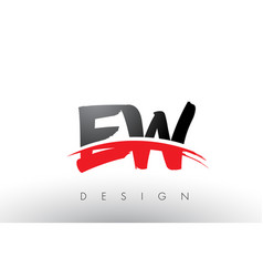 Ew e w brush logo letters with red and black vector