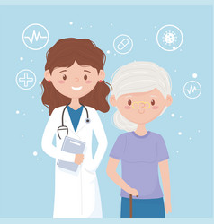 Female physician and patient old woman medical vector
