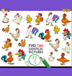 Find two identical chicken pictures game for kids vector