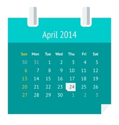 Flat calendar page for April 2014 vector image