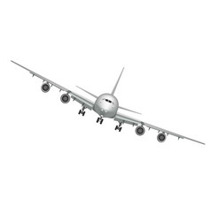 Flying airplane jet aircraft airliner front vector