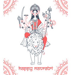 Goddess durga greeting card navratri vector