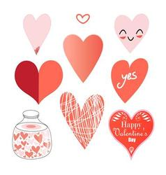 Graphic set of hearts on a white background vector image