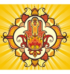 Hand hamsa with ethnic ornaments vector image