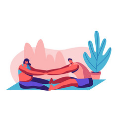 happy couple doing stretching exercises in gym vector image