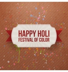 Happy Holi Festival of Color Card with Ribbon vector