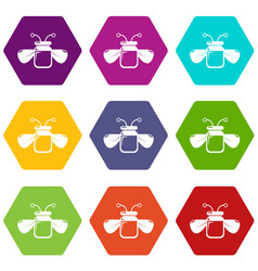 Jar bee honey icons set 9 vector
