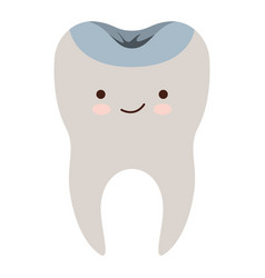 Kawaii restored tooth with root in colorful vector