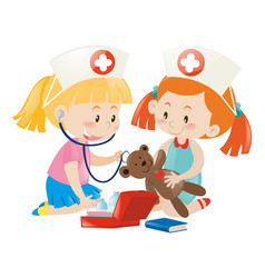 Kids playing nurse with doll vector