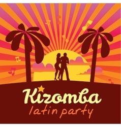 Kizomba poster for the party Dancing couple vector image