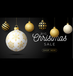 luxury christmas sale horizontal banner christmas vector image