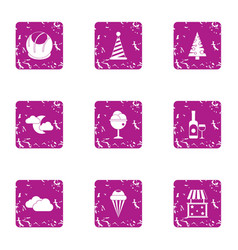 magical celebration icons set grunge style vector image