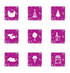 Magical celebration icons set grunge style vector