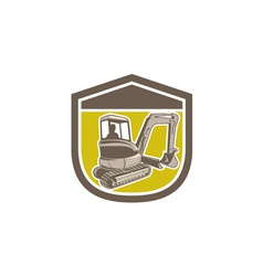Mechanical Digger Excavator Shield Retro vector image vector image