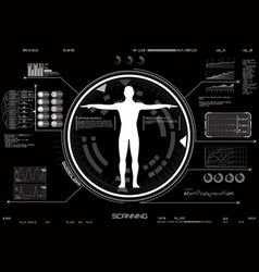 medical infographic hud ui concept of body scan vector image