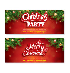 Merry christmas invitation party poster banner vector