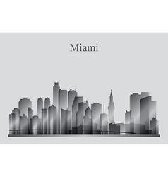 Miami city skyline silhouette in grayscale vector