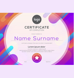 Modern certificate completion template vector