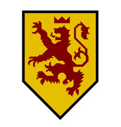 Modern heraldry lion with emblem and straight vector