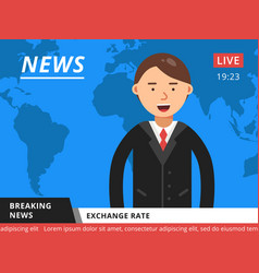 Newscaster at television hot breaking news vector