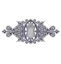 Ornated silver vintage decor with heraldic shield vector image