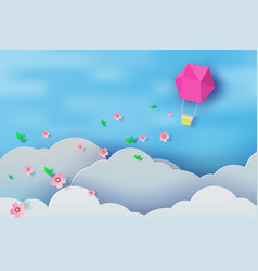 paper art of balloon on blue sky background vector image