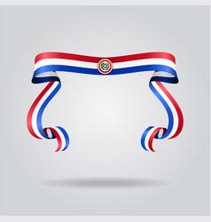 Paraguayan flag wavy ribon background vector