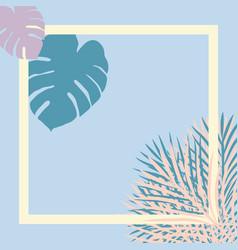 Pastel tropical garden picture frame vector