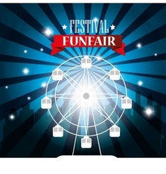 poster festival funfair ferris wheel city vector image