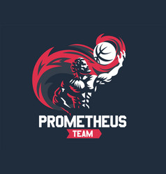 prometheus and a sports ball sports emblem vector image