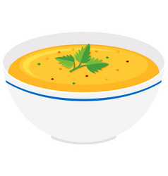 Pumpkin soup in bowl vector