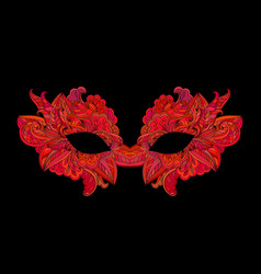 Red venetian carnival mask with flower vector
