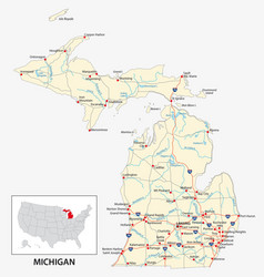road map us american state michigan vector image