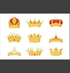 royal golden crowns set symbols of power vector image