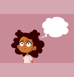 Sad african girl with thinking bubble vector