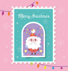 santa with lights star snowflakes merry christmas vector image