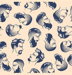 Seamless pattern bearded men face profile vector